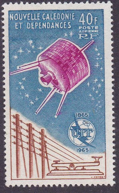 France Colony New Caledonia 1965 Air Mail ITU Satellite Common Design VF/NH