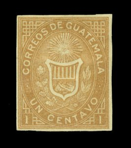 GUATEMALA 1871 Coat of Arms 1c ocher - IMPERF - Scott # 1 mint MH