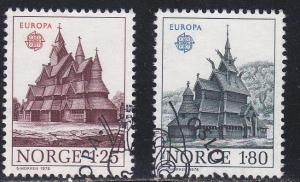 Norway # 727-728, Europa  - Heddal Stave Church, Used Set, 1/2 Cat.