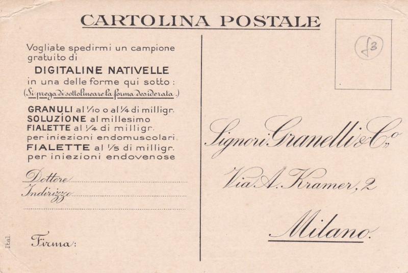 Italy Signor Granelli&Co Laboratory Milan Advertising Postcard Unused VGC