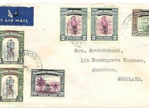 NORTH BORNEO Air Mail Cover SABAH *Sandakan* Overprints GB Scotland 1948 GV124