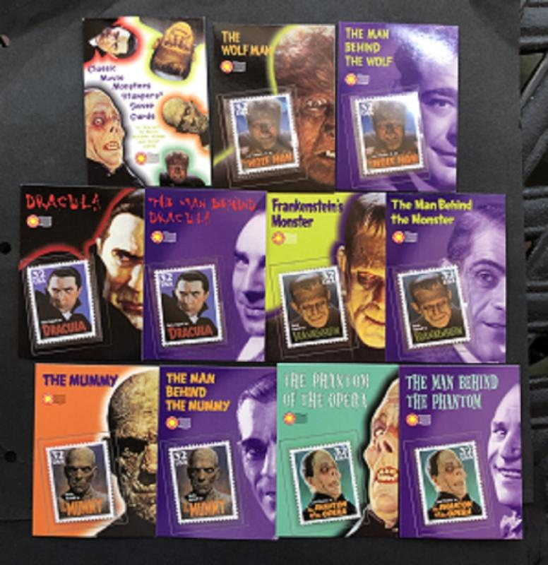 Set of 11 Classic Movie Monsters Stampers Cards and 10 MNH stamps in mounts