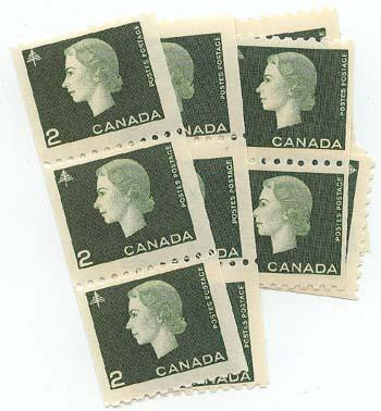 CANADA USC#406 x 16 as singles to strip of four. Cat. $68. F-F+