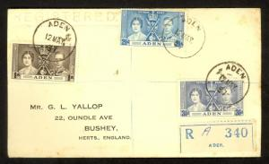 ADEN 1937 KGVI CORONATION Set on Registered FDC Sc 13-15