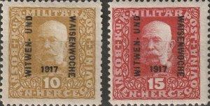 1917 Bosnia Stamp Set - Scott #B11-B12  Mint MH