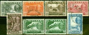 Kelantan 1961-63 Set of 8 SG96-102 Fine Used