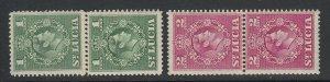St. Lucia, Scott 135a-136a (SG 146a-147a), MNH paste-up pairs
