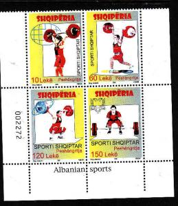 Albania-Sc#2872-Unused NH block of 4-Sports-Weight Lifting-2