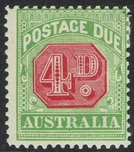 AUSTRALIA 1909 POSTAGE DUE 4D WMK CROWN/DOUBLE LINED A PERF 12 X 12.5