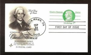 FIRST DAY COVER #UX68 Charles Thomson 7c Post Card ARTCRAFT U/A FDC 1975