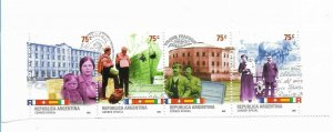 ARGENTINA 2002 INMIGRANTS CULTURES SHIPS BUILDING HISTORY STRIP OF 4 VALUES MNH