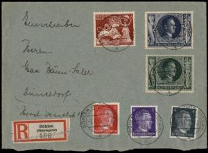 Germany 1943 Hitler With Swords Stamp Issue Registered Cover 71681