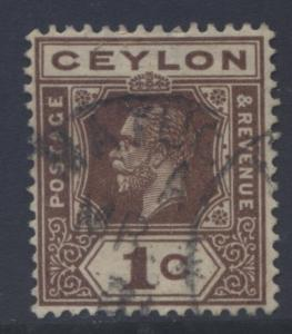 CEYLON -Scott 200- KGV - Definitive- 1912- Wmk 3 - Used -Single 1c Stamp