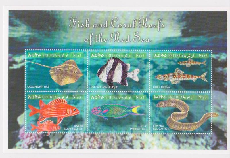 Eritrea - Fish & Coral Reefs of the Red Sea, 2000 - Sc 332 Sheetlet of 6 MNH