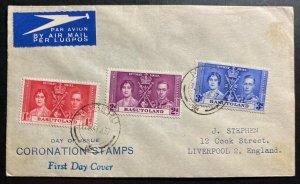 1937 Maseru Basutoland first day cover FDC Coronation King George VI To England