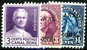 CANAL ZONE #115-117 MINT MIXED CONDITION
