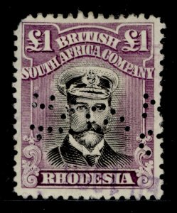 RHODESIA GV SG278, £1 black and deep purple, USED. PERFIN