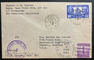 1951 USA Army APO 502 In Noumea New Caledonia Censored Cover Captain Conover