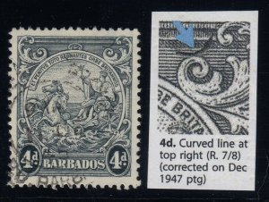 Barbados, SG 253b, used Curved Line at Top Right variety