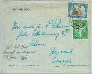 90560 -  ADEN - POSTAL HISTORY -  AIRMAIL COVER  to DENMARK with content ! 1953