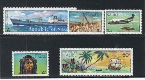 NAURU (MM211) # 108-111,113 VF-MNH  VARc 1974 100TH ANV. FIRST CONTACT W WORLD