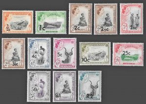 Swaziland SC 67-79 * QEII Coronation Issue with Overprints * MVLH * 1961