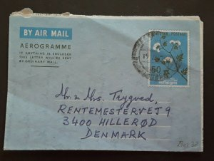 1969 Lahore Pakistan To Denmark Folded Letter Air Mail Cover
