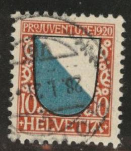 Switzerland Scott B16 used 1920 semipostal  CV$12.50