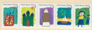Cocos Islands Scott 326 Strip of 5 MNH! Child Drawings!