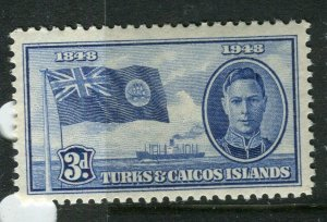 TURKS CAICOS ISLANDS; 1948 early GVI issue fine Mint hinged 3d. value