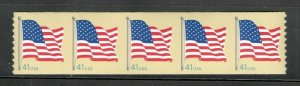 4188a US Flag Strip Of 5 Mint/nh FREE SHIPPING