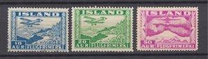 J29760, 1934 iceland # c15 used, c16 mh c18 unused airplanes