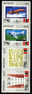PARAGUAY 1987 AVIATION 750° ANIV BERLIN STRIP OF 4 MNH Mi 4125-8
