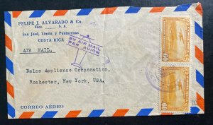 1938 San Jose Costa Rica Airmail Commercial Cover To Rochester NY USA
