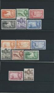 CAYMAN IS 1938-48 SET OF FOURTEEN MM SG 115/126 CAT £100