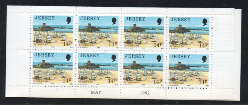 Jersey Sc 487b 1992 14p St Quens Bay stamp booklet mint NH