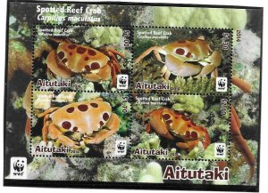 2014    AITUTAKI  -  SG.  MS 827  -  SPOTTED REEF CRAB  -  MNH