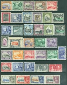 EDW1949SELL : CYPRUS 1934-44 Scott #125-55 Complete. All Very Fine, MOG Cat $395
