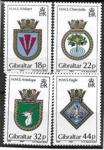 1987    GIBRALTAR  -  SG. 565 / 568  -  NAVAL CRESTS  -  MNH