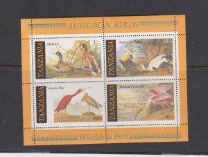 Audubon Bird Scarlet Ibis Eider Mallard Roseate MNH Minisheet of 4 Tanzania