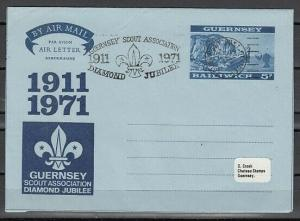 Guernsey, 1971 issue. Airletter with Scout Cachet. First day cover.