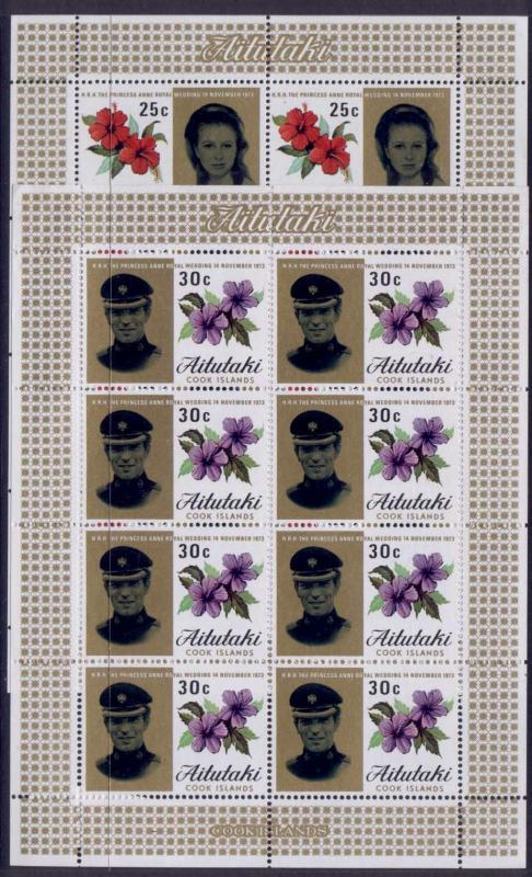 Aitutaki 77-8 sheets MNH Princess Anne, Mark Phillips Wedding, Flowers