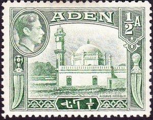 ADEN 1939 KGVI ½a Yellow-Green SG16 MH