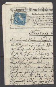 Austria, Scott P1, used on original Newspaper