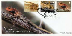 BIOT Stamps 2019 FDC Lizards Geckos House Gecko Agamid Lizard Reptiles 3v Cover