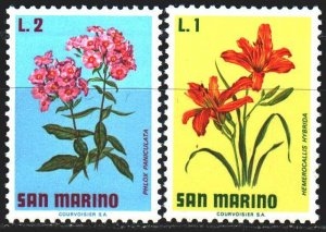 San Marino. 1971. 984-85 from the series. Flowers, flora. MNH.