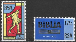 South Africa 150th Anniversary of the Bible set of 1970, Scott 361-362 MNH