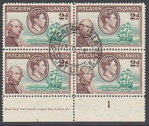 PITCAIRN 1940 GVI 2d plate/imprint block of 4 fine used....................29955