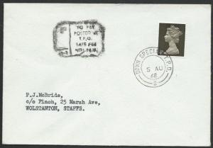 GB 1968 cover DOWN SPECIAL TPO railay cancel,  late fee postage due........50585
