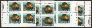 Canada - USC #1161ii 1992 25c Beaver Matched Set Imprint Blocks mint